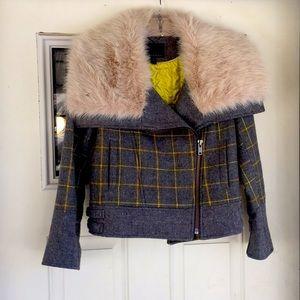 Banana republic wool plaid tweed fur petite coat